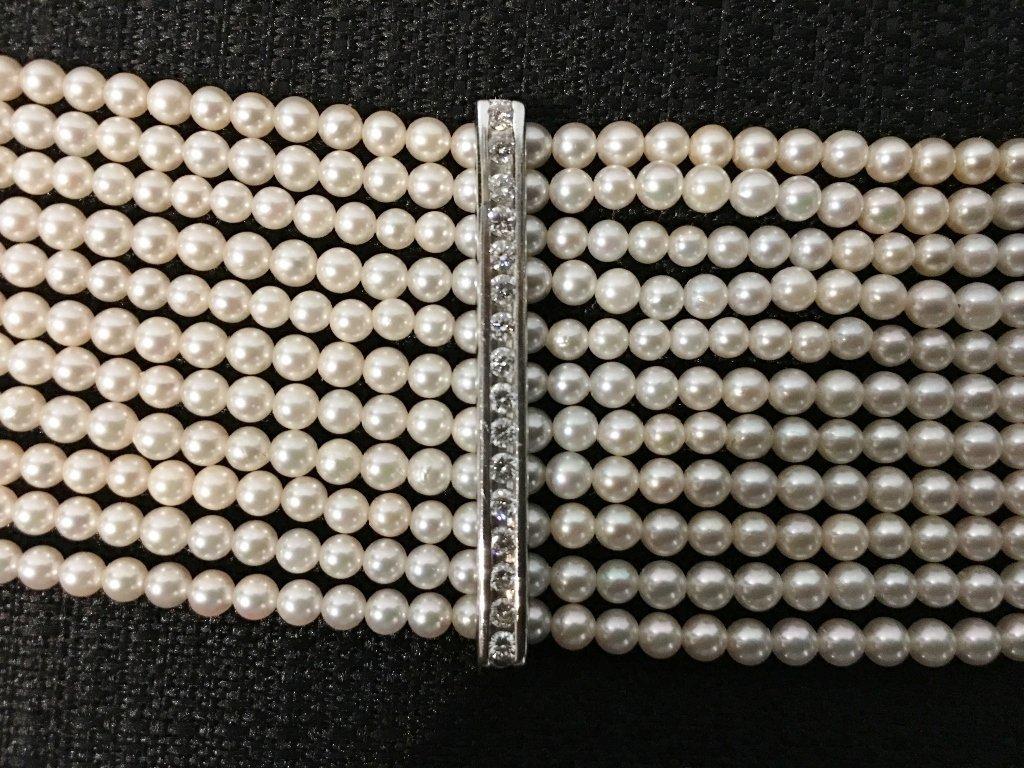 Platinum, diamond and cultured pearl choker, circa 1975 - 5