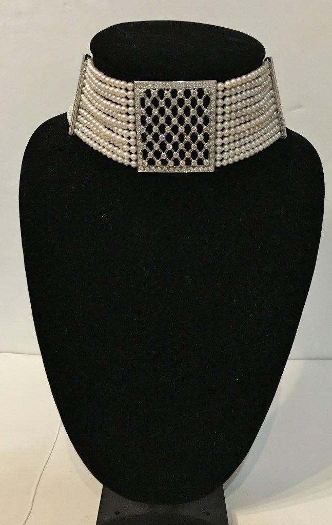 Platinum, diamond and cultured pearl choker, circa 1975 - 9
