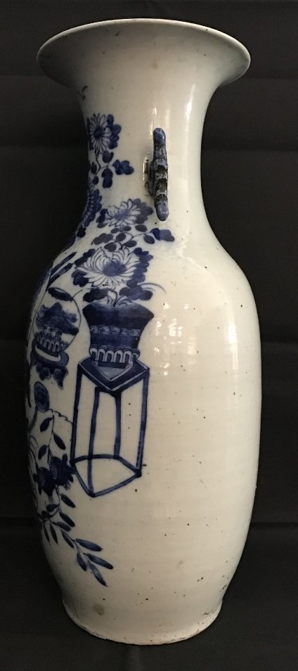 Large Chinese blue and white vase, flowers, c.1900 - 2