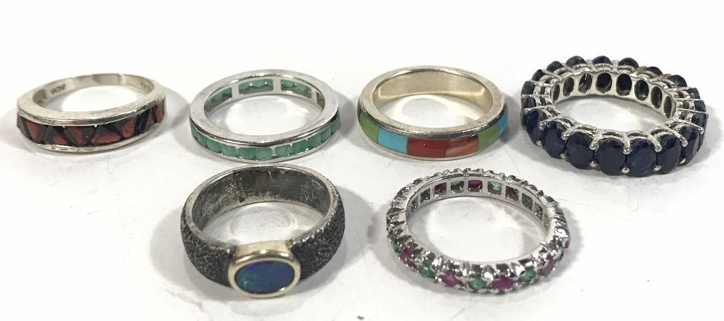 Twenty-four silver rings, 4.7 t. oz - 6