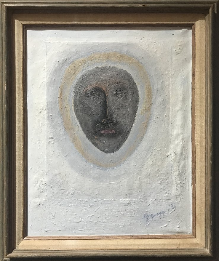 """Abstract painting of face signed; """"Griguere '83"""""""