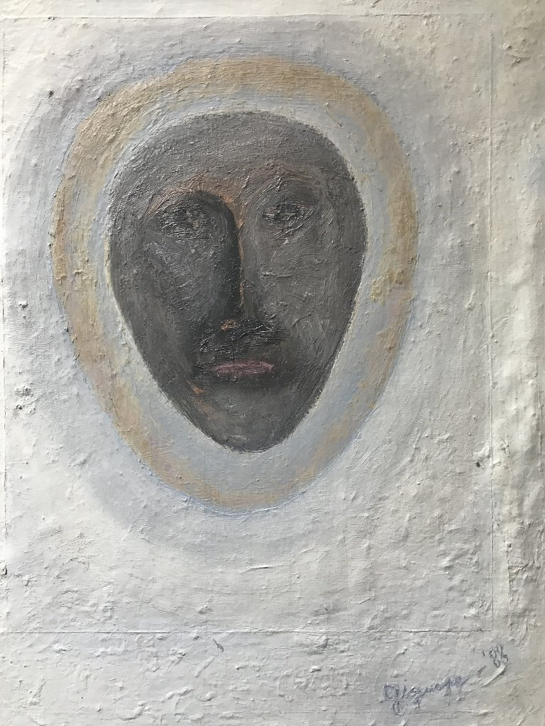 """Abstract painting of face signed; """"Griguere '83"""" - 3"""