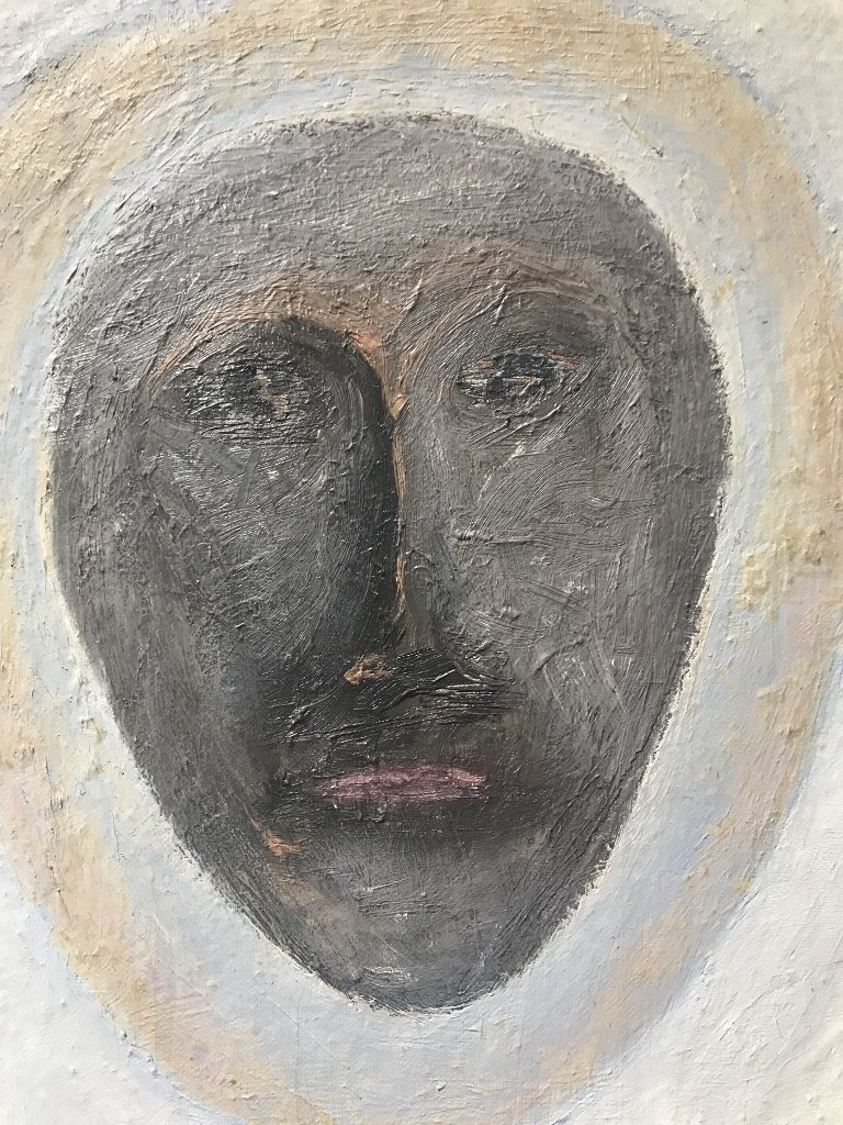 """Abstract painting of face signed; """"Griguere '83"""" - 4"""