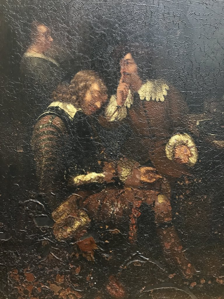 Old master painting on metal, 17th cen scene - 2