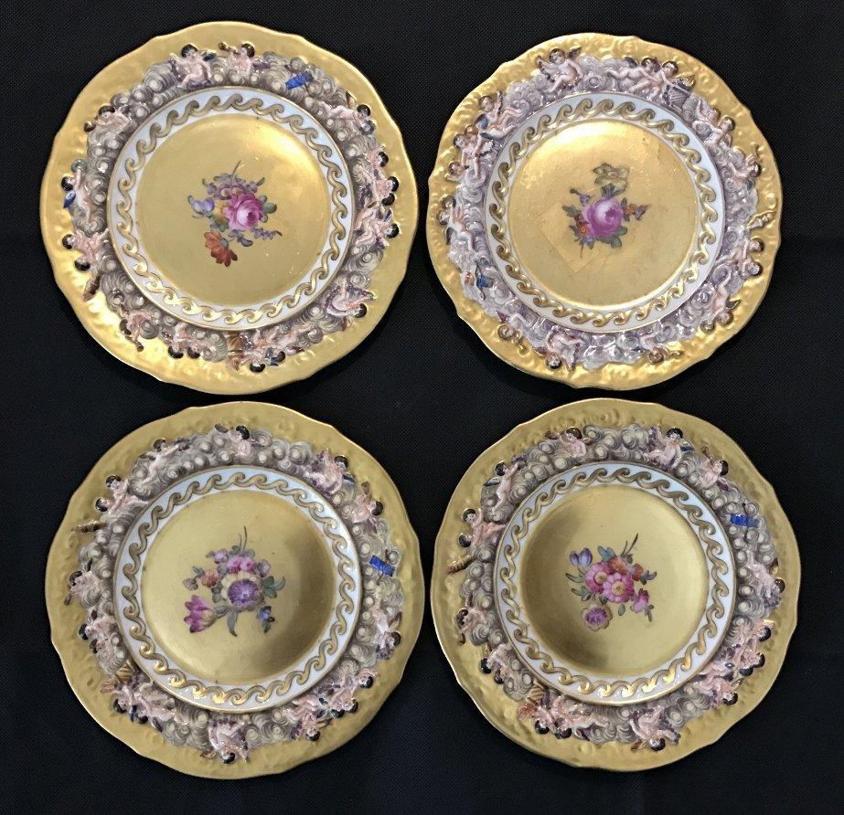 Four Capodimonte plates, c.1910