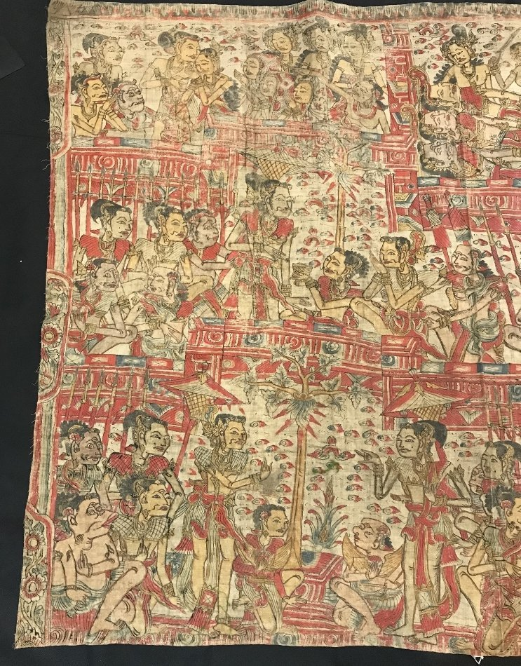 Painted Tibet or Indonesian textile - 2