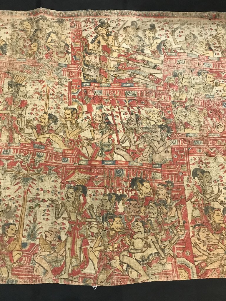 Painted Tibet or Indonesian textile - 3
