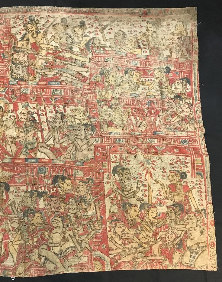 Painted Tibet or Indonesian textile - 4