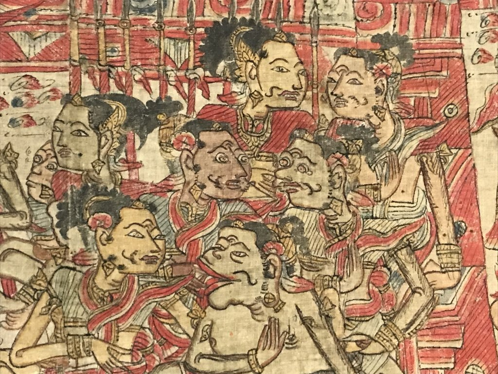 Painted Tibet or Indonesian textile - 5