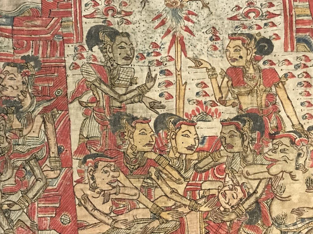 Painted Tibet or Indonesian textile - 6