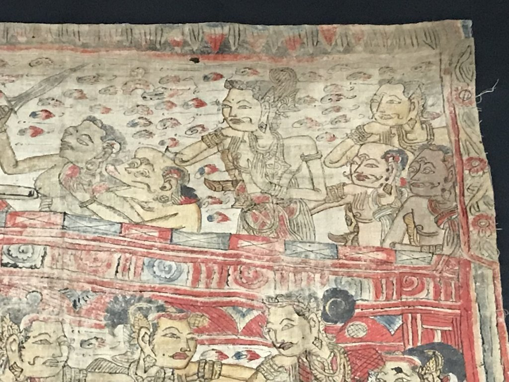 Painted Tibet or Indonesian textile - 7