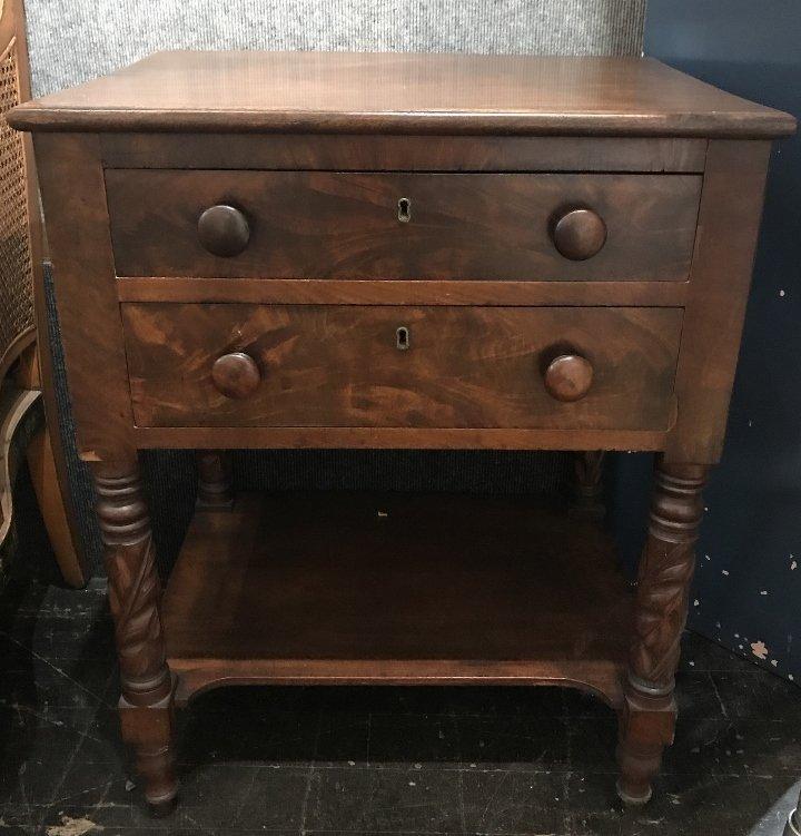 19th century 2 drawer mahog table