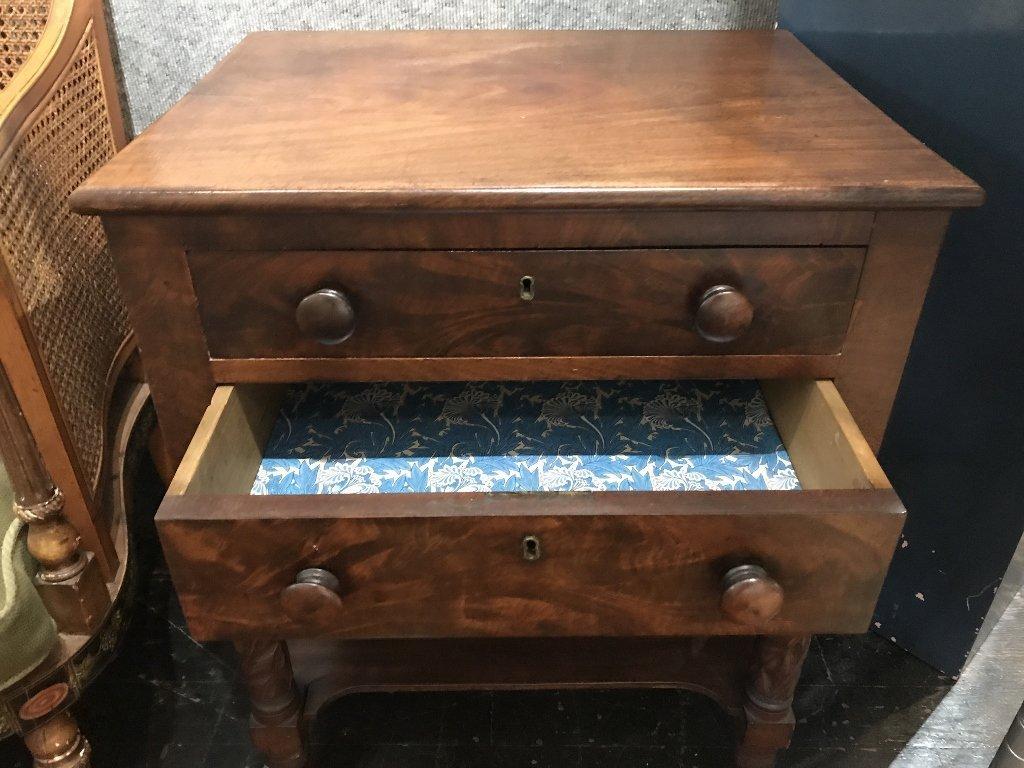 19th century 2 drawer mahog table - 4