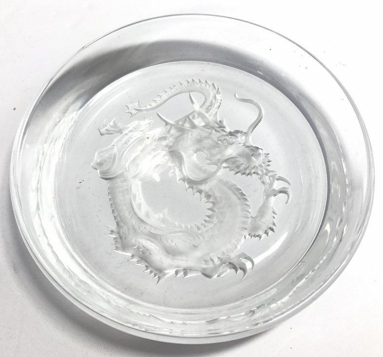Two Hoya crystal dragon ashtrays - 4
