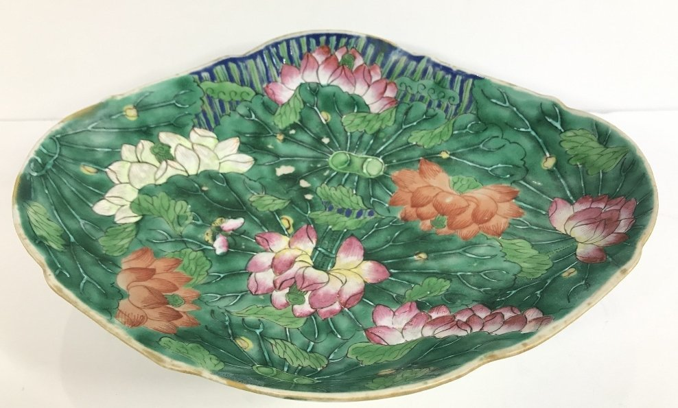 Chinese green and white shallow bowl