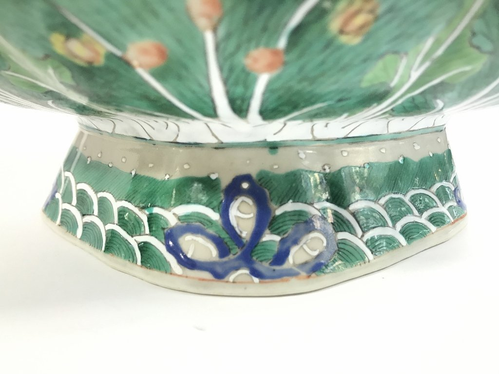 Chinese green and white shallow bowl - 5