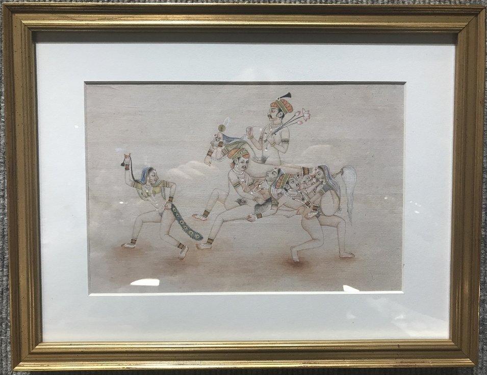 Indian watercolor, Prince on horse.Erotica.Circa 1940.
