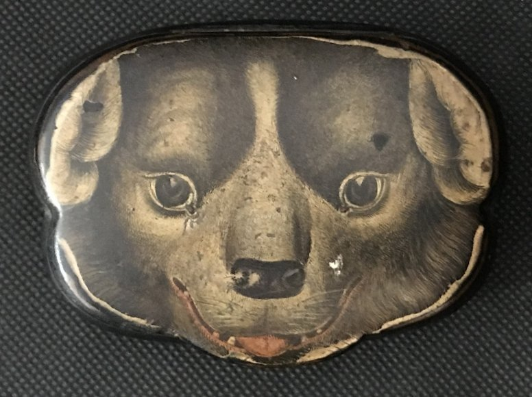 Snuff box with St.Bernard dog's face, c.1850