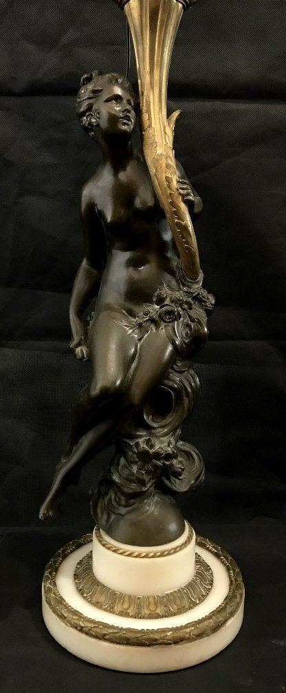 Bronze and marble maiden lamp, c.1890
