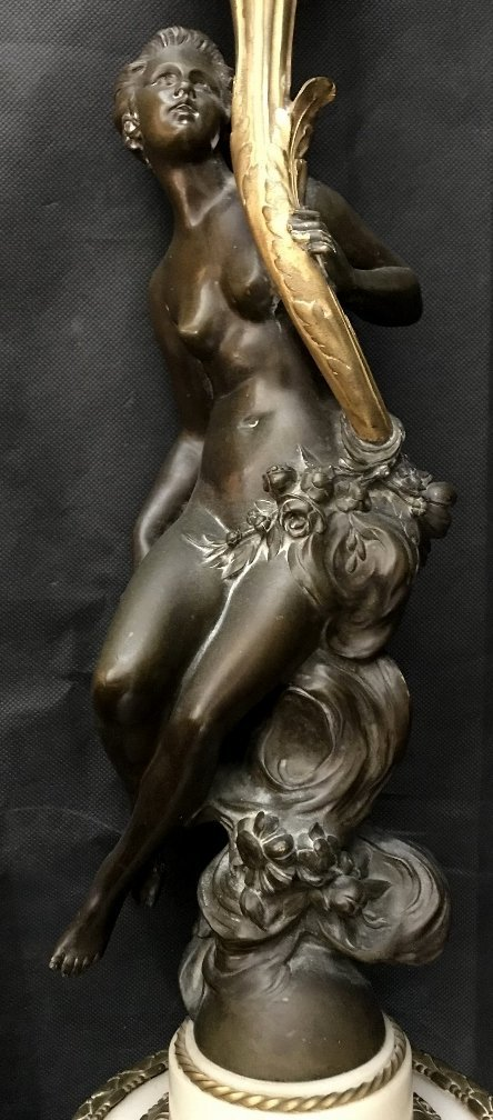 Bronze and marble maiden lamp, c.1890 - 2