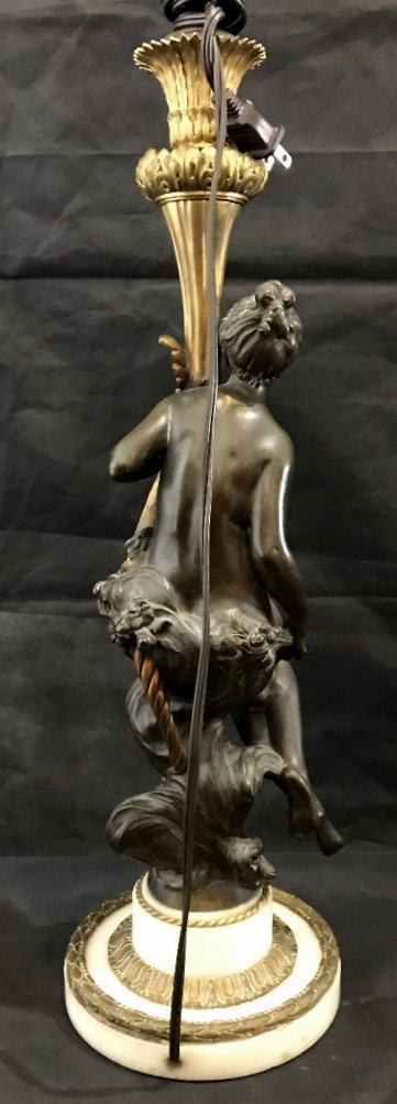 Bronze and marble maiden lamp, c.1890 - 5