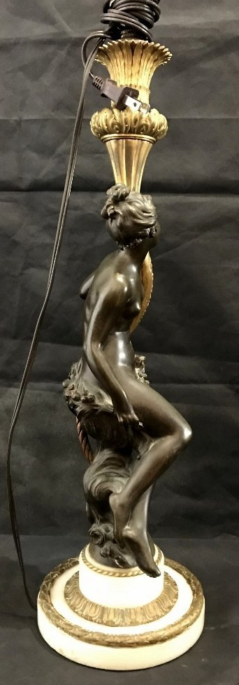 Bronze and marble maiden lamp, c.1890 - 7