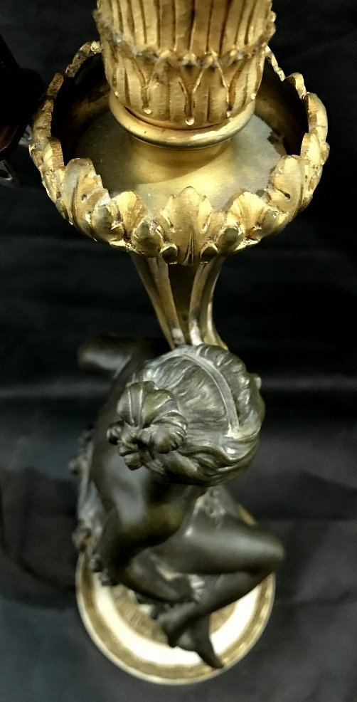 Bronze and marble maiden lamp, c.1890 - 9