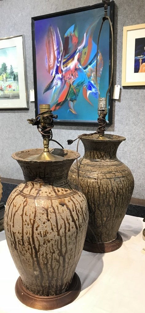 Pair of early Asian ceramic lamps-some chips
