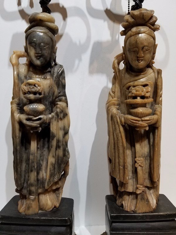 Pair of Chinese soapstone lamps, c.1930