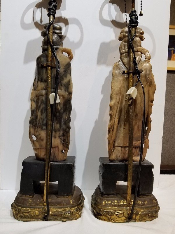 Pair of Chinese soapstone lamps, c.1930 - 3