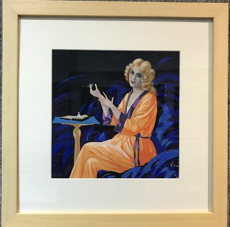 "Gouache by Emilio Vila, c.1925, ""Orange Pajamas"""