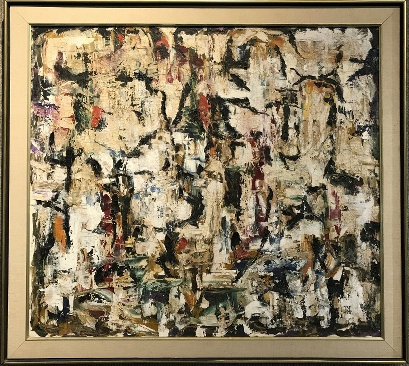 "Abstract painting signed :""A.D""on reverse.1960's"