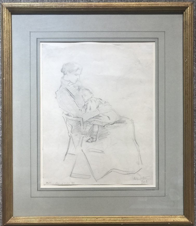 Albert Sterner, pencil drawing Mother & Child, 1898