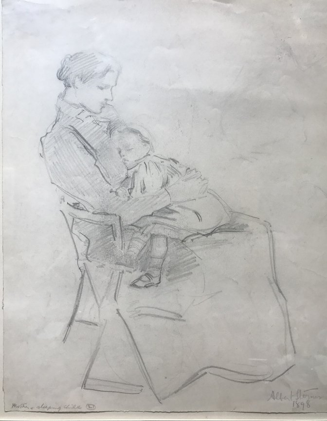 Albert Sterner, pencil drawing Mother & Child, 1898 - 2