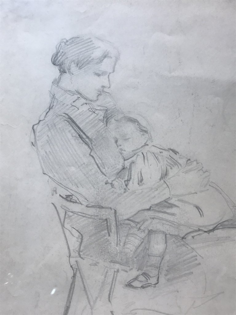 Albert Sterner, pencil drawing Mother & Child, 1898 - 6