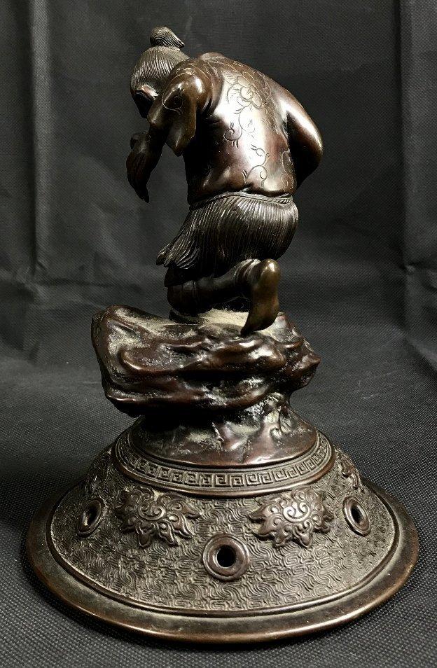 Japanese bronze lid, c.1880 - 2