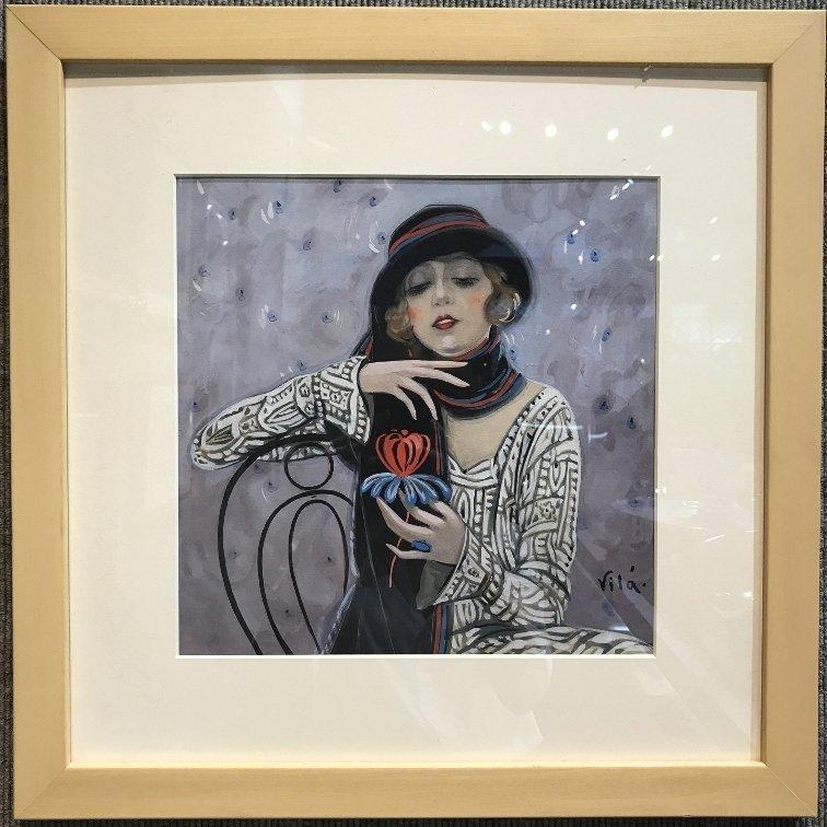 """Gouache by Emilio Vila, c.1925, """"Holding flower"""""""