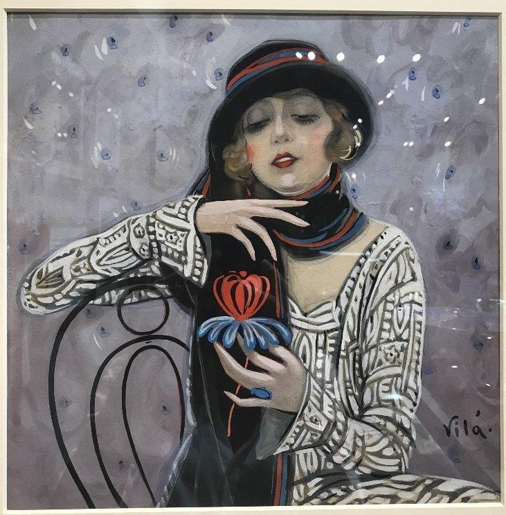 """Gouache by Emilio Vila, c.1925, """"Holding flower"""" - 2"""