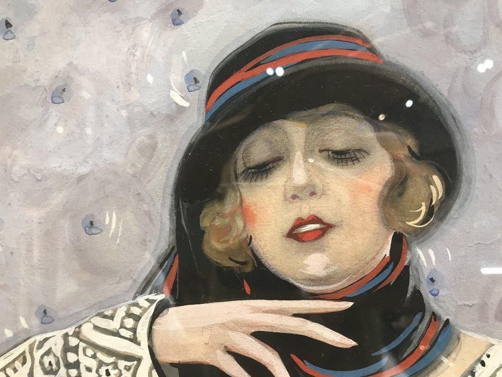 """Gouache by Emilio Vila, c.1925, """"Holding flower"""" - 4"""