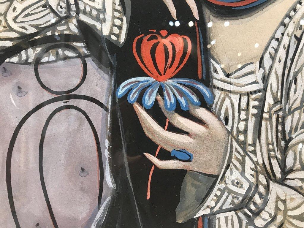 """Gouache by Emilio Vila, c.1925, """"Holding flower"""" - 5"""