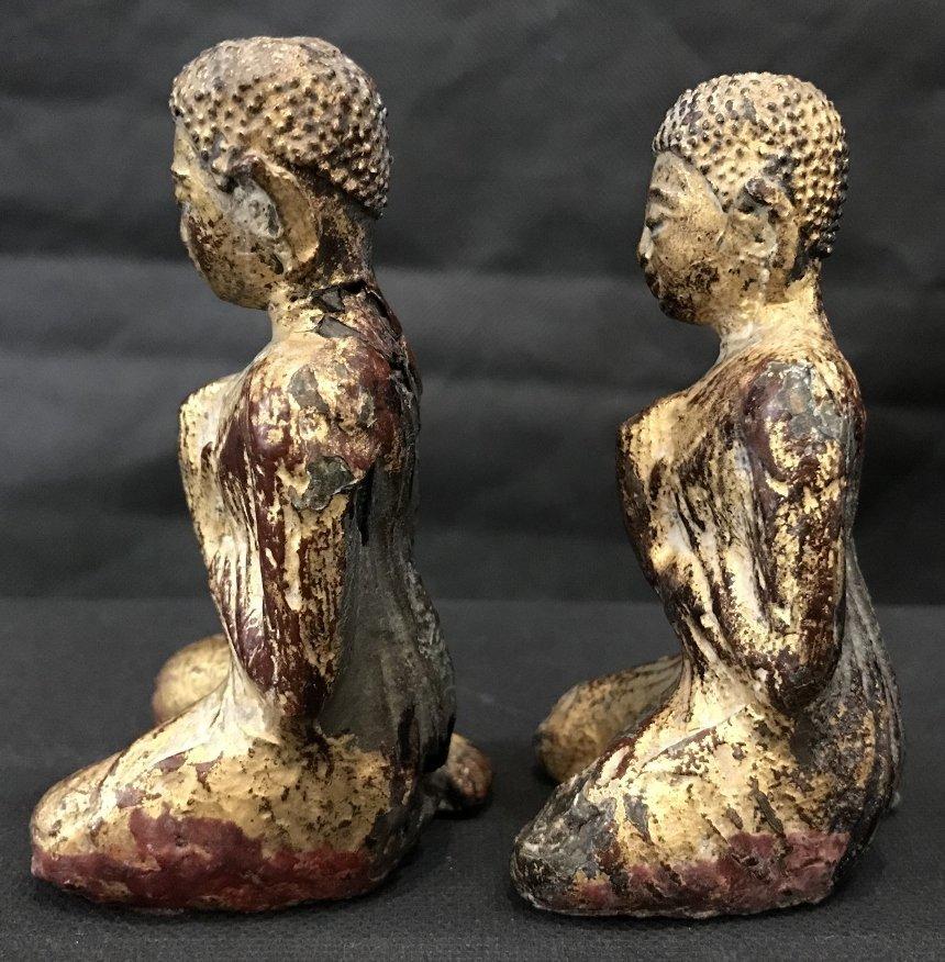 Two gilt metal praying monks, 18th/19th century - 2