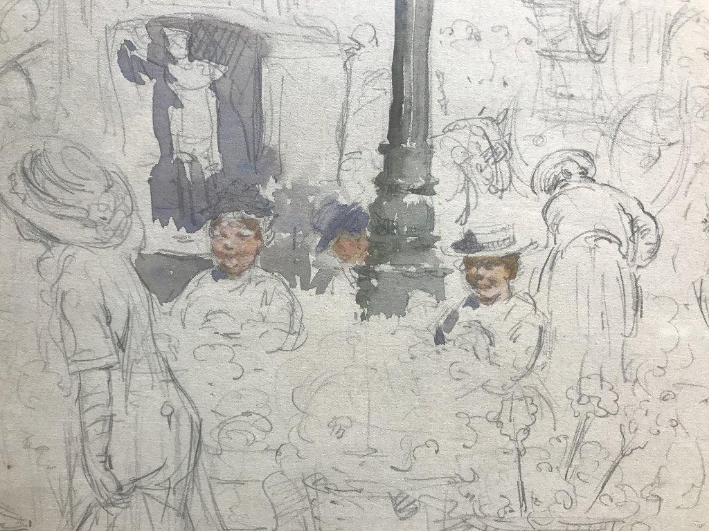 """Paris Street Scene"" Francis L Mora, watercolor - 4"