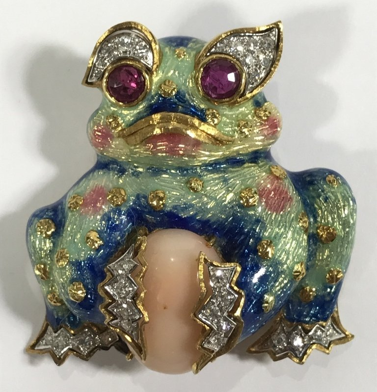 18k diamond ruby & enamel frog clip with coral, c.1975
