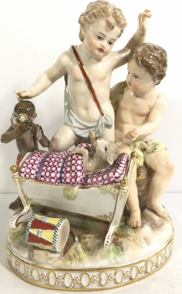Meissen group, monkey and dog baby, c.1900