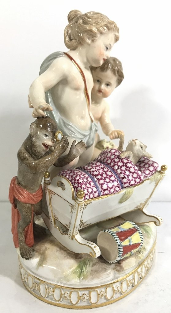 Meissen group, monkey and dog baby, c.1900 - 3