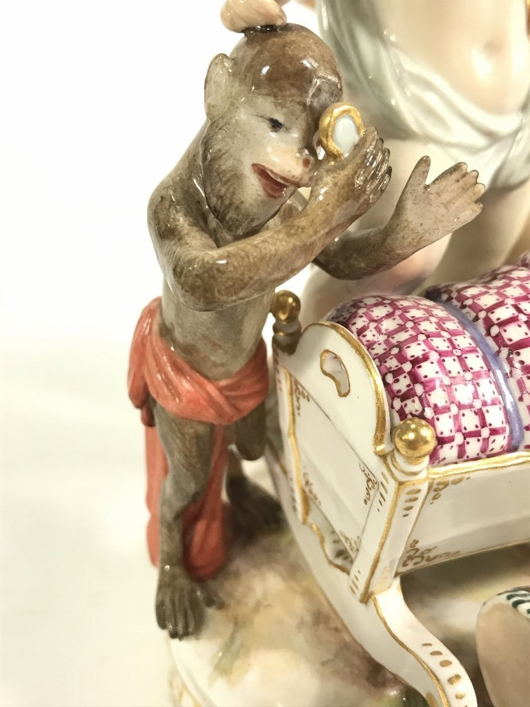 Meissen group, monkey and dog baby, c.1900 - 7