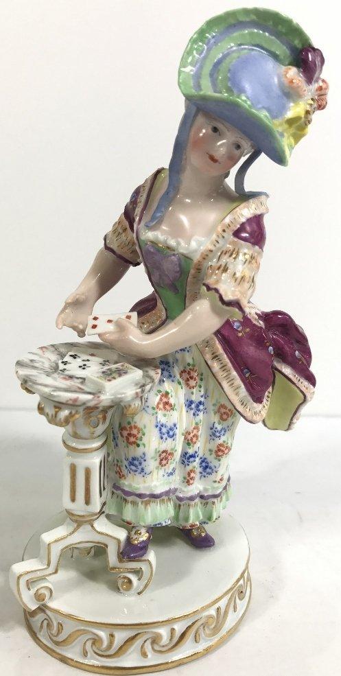 Meissen figurine, lady card player,c.1900