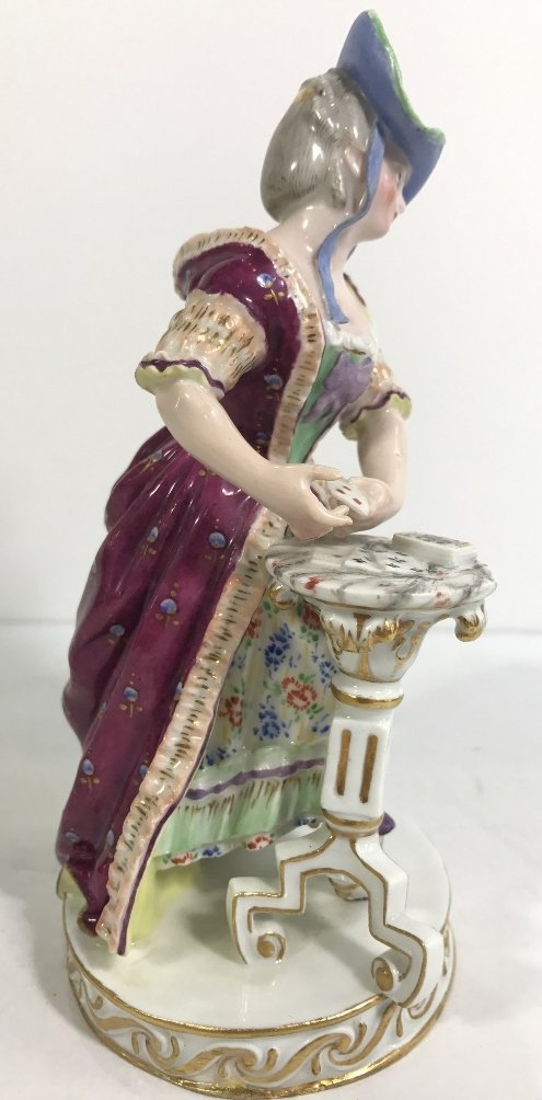 Meissen figurine, lady card player,c.1900 - 3