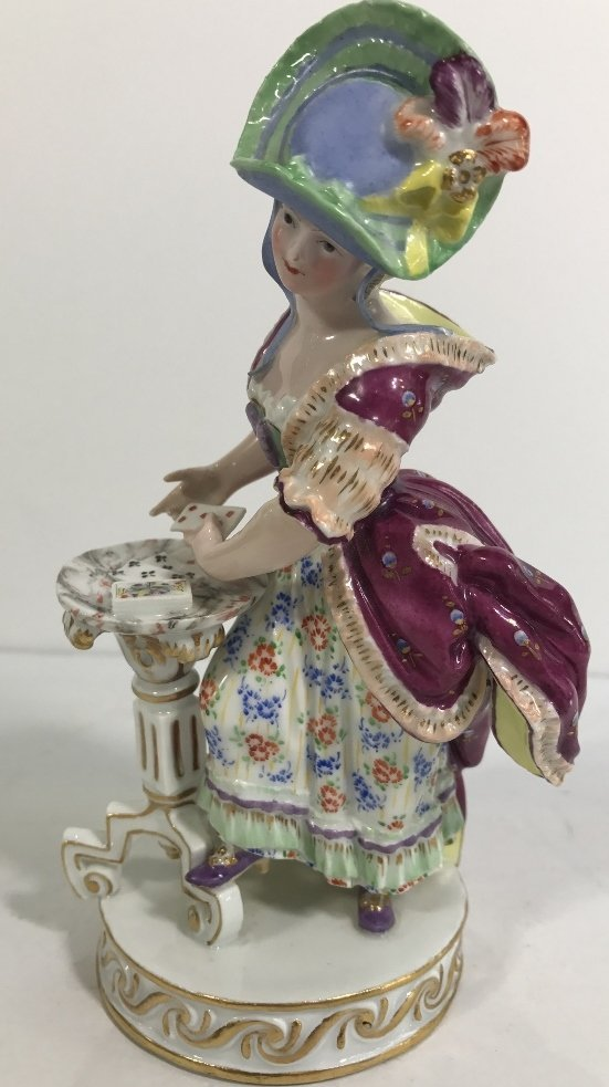 Meissen figurine, lady card player,c.1900 - 5