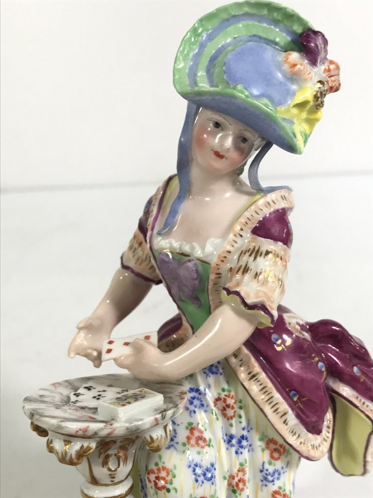 Meissen figurine, lady card player,c.1900 - 6